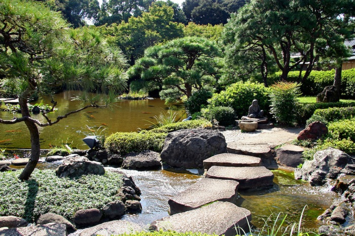 Japanese Garden at New Otani Hotel in Tokyo.